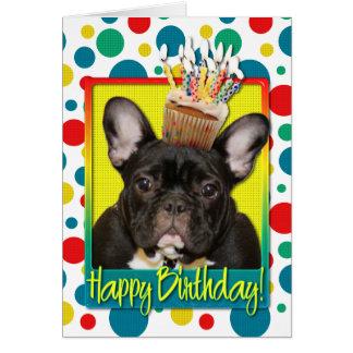 Cartão Cupcake do aniversário - buldogue francês -