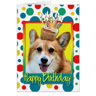 Cartão Cupcake do aniversário - Corgi - Owen