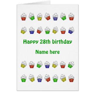 Cartão cupcakes personalizados 28o aniversário