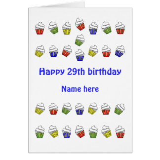 Cartão cupcakes personalizados 29o aniversário