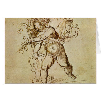 Cartão Cupido com um violino por Campagnola, arte de