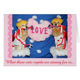 Cartão Cupido do golden retriever do amor