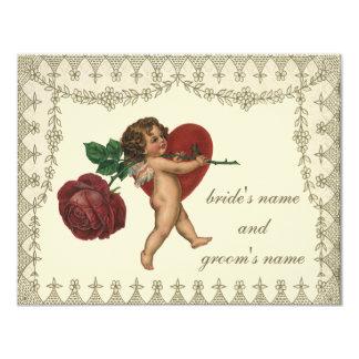 Cartão Cupido do Victorian do vintage com coração RSVP da