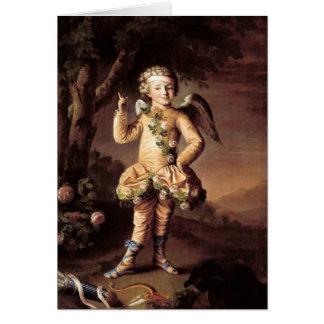 Cartão Cupido do vintage e setas - namorados