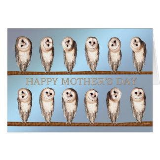 Cartão curioso do dia das mães das corujas