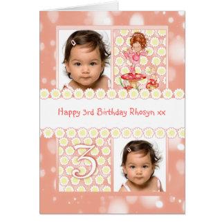 Cartão customizável da foto do aniversário de 3