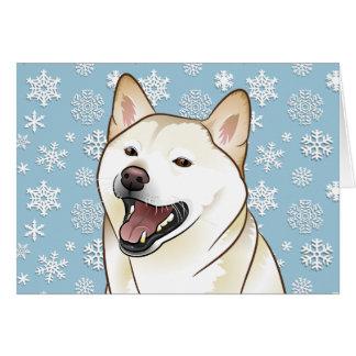 Cartão customizável de creme de Shiba Inu do Feliz