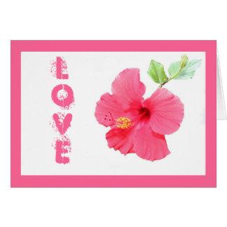 Cartão customizável do amor do hibiscus