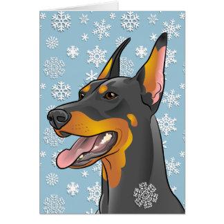 Cartão customizável do cão do Doberman do Feliz
