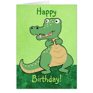 Cartão customizável do crocodilo dos desenhos