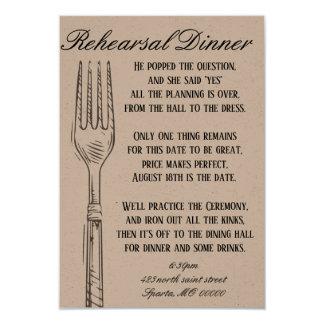 Cartão customizável do jantar de ensaio