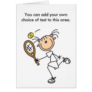 Cartão customizável do jogador de ténis da menina