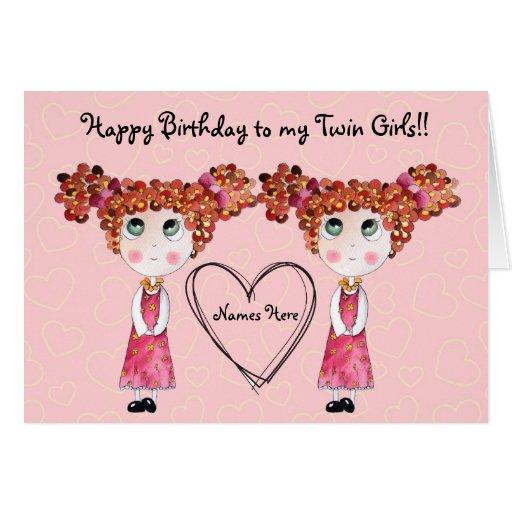Cartão customizável gêmeo do feliz aniversario das