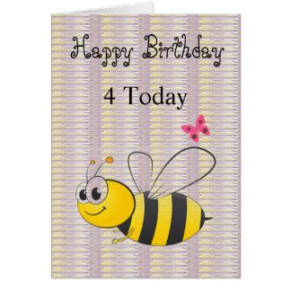 Cartão da abelha do Lilac do preto do feliz