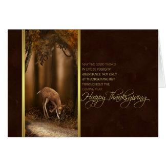 cartão da acção de graças com cervos da floresta
