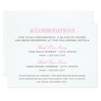 Cartão | da acomodação do casamento cor-de-rosa e