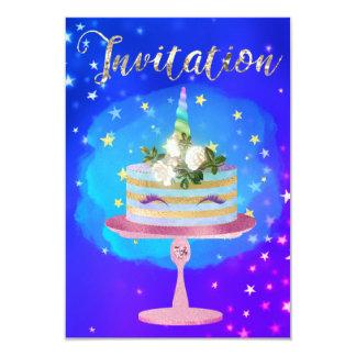 Cartão Da aguarela cor-de-rosa do ouro do unicórnio do