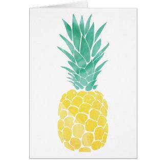Cartão da aguarela do abacaxi (vazio para dentro)