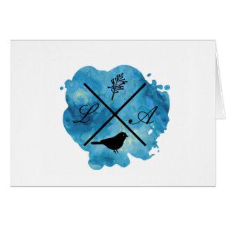 cartão da aguarela do monograma no azul