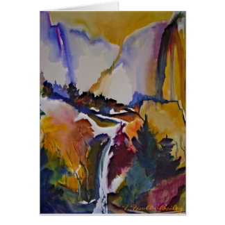 Cartão da aguarela do outono de Yosemite