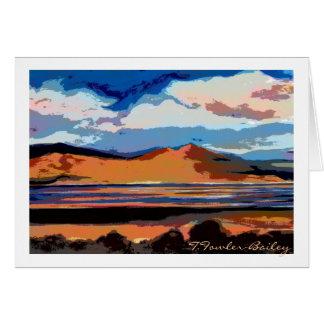 Cartão da aguarela do por do sol do lago honey