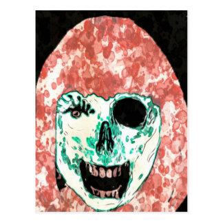 Cartão da aguarela do zombi do alimentador