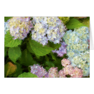 Cartão da aguarela dos Hydrangeas