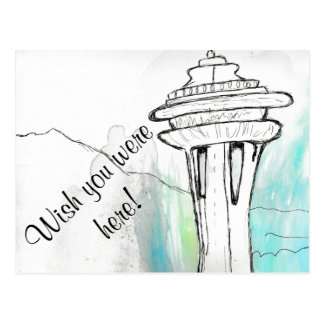 Cartão da agulha do espaço de Seattle da aguarela