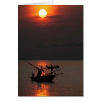 Cartão da aldeia piscatória de Tailândia