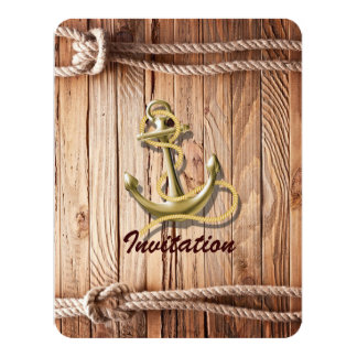 Cartão da âncora de madeira da praia da doca do navio