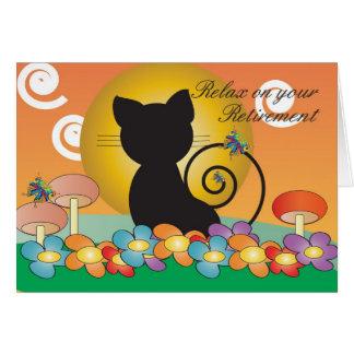Cartão da aposentadoria com o gato preto que olha