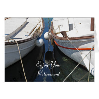 Cartão da aposentadoria da reflexão dos barcos