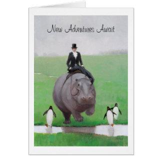 Cartão da aposentadoria do hipopótamo e dos