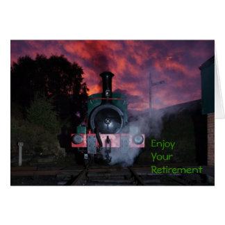 Cartão da aposentadoria do trem do vapor