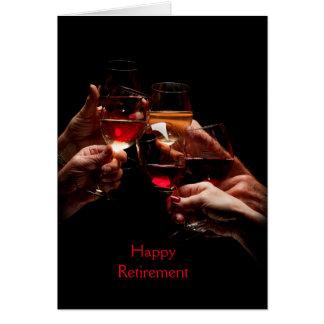 Cartão da aposentadoria dos vidros de vinho
