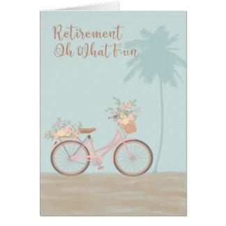"""Cartão da aposentadoria """"oh que divertimento"""" com"""