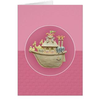 Cartão da arca de Noah cor-de-rosa