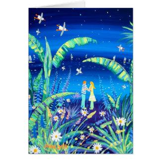 Cartão da arte: Amor da planta de banana. Amantes