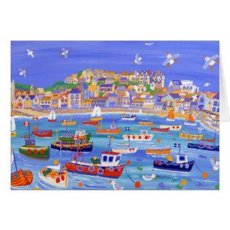 Cartão da arte: Barcos no porto, St Ives Cornualha