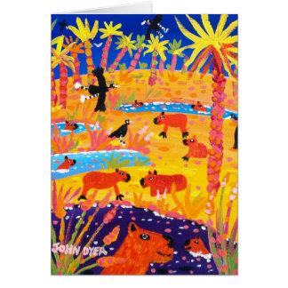 Cartão da arte: Capybara brasileiro. Pantanal