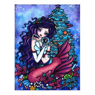 Cartão da arte da fantasia da sereia da orca do