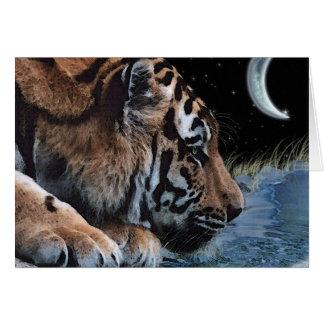 Cartão da arte da fantasia do tigre & da lua do