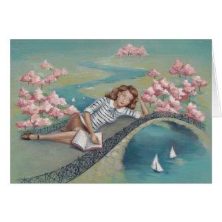 Cartão da arte da menina do amante de livro