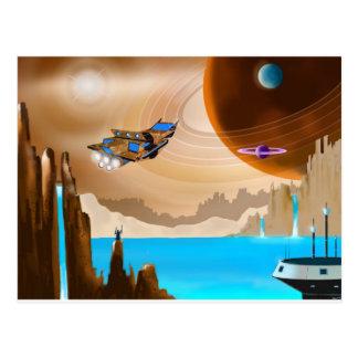 Cartão da arte da paisagem de Starship e de Scifi