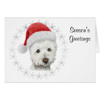 Cartão da arte do cão de Westie do Natal dos