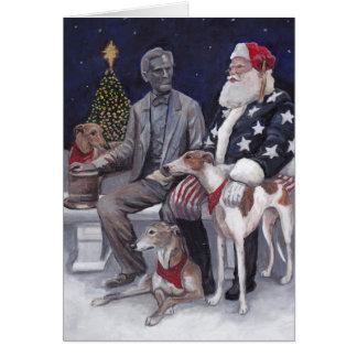 Cartão da arte do cão do galgo do Natal de