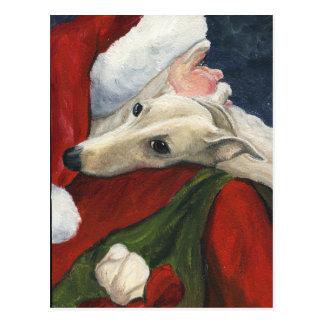 Cartão da arte do cão do Natal do papai noel do
