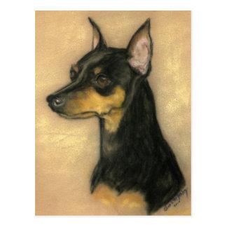 Cartão da arte do cão do Pinscher diminuto