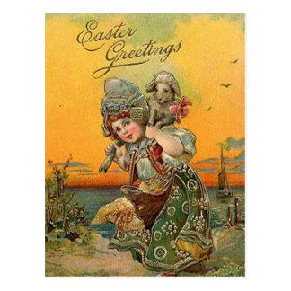 Cartão Postal Cartão da arte do feriado da páscoa do vintage