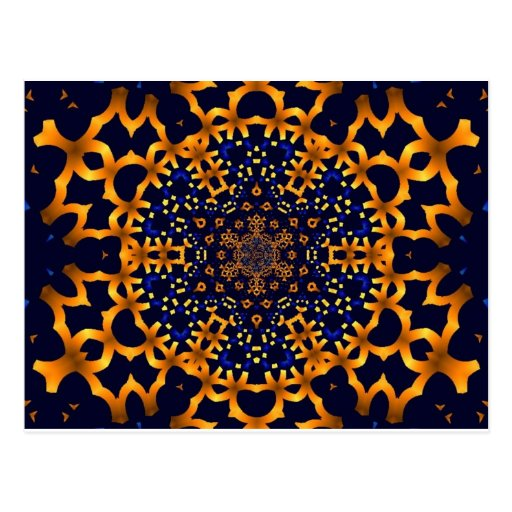 Cartão da arte do Fractal do azul & do ouro Cartao Postal